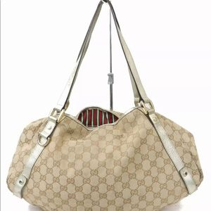 3226105f6ba Gucci. GUCCI Abbey Bag Canvas Leather ...
